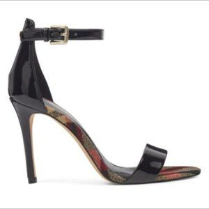 Ankle Strap Sandals in Black Patent